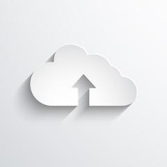 Upload cloud flat icon.