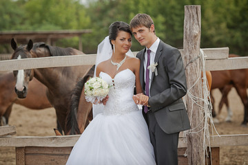 groom and  bride  stand near the horse shelter