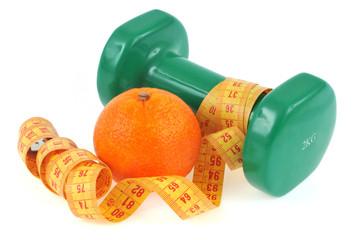 Haltère et orange