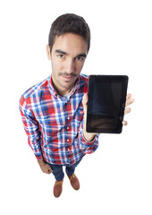 Happy guy holding a tablet