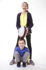 Children with rugby ball