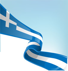 Greek flag on sky background