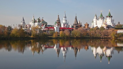 Izmaylovsky Kremlin is reflected in water. Moscow