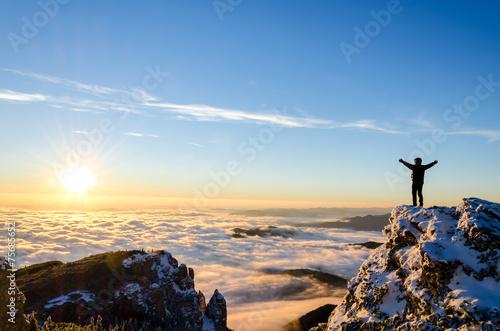 Leinwandbild Motiv hiker celebrating success