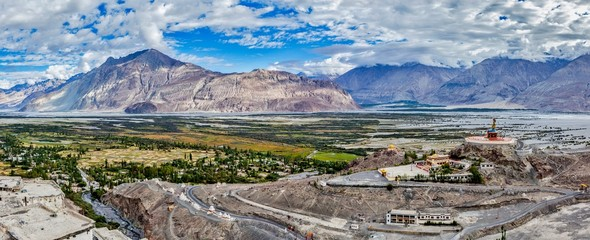 Panorama of Nubra valley in Himalayas