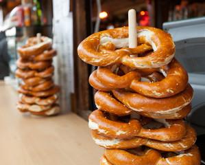 Sale of pretzel in a Christmas market.