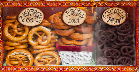 Sale of pretzel in a Christmas market.