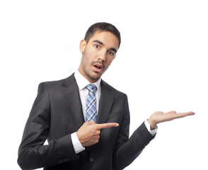 Surprised businessman show gesture