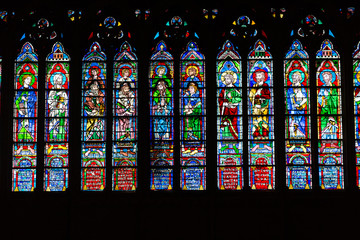Paris - Stained glass windows in the Notre Dame Cathedral
