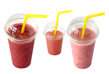 smoothies in plastic cup isolated on a white background