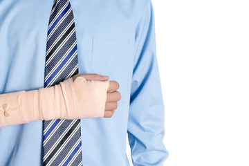 Hand injured businessman , insurance concept