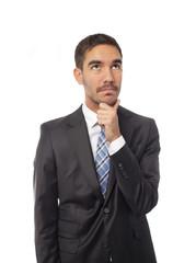 Businessman wondering