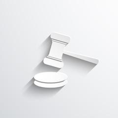 Vector hammer judge web icon.
