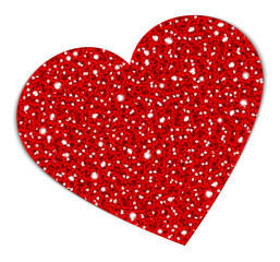Red Glitter Heart Sparkling