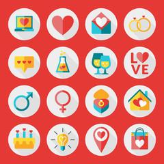 St. Valentine's day flat design icon set