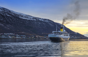 Luxury Cruise Sailing in Tromso, Norway.