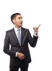 Astonished businessman pointing