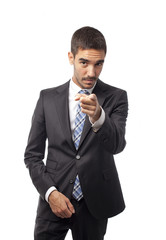 Confident businessman pointing