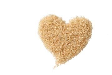 valentine heart of sweet brown sugar on white background