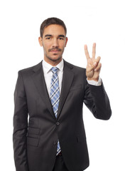 Happy businessman victory gesture