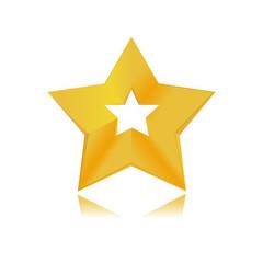 shiny golden star icon on white background