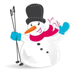 Schneemann mit Ski