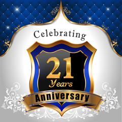 celebrating 21 years anniversary, sheild with royal emblem