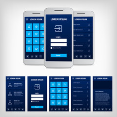 vector conception of blue mobile user interface