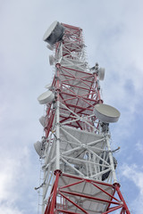 Top of the telecommunication tower at winter