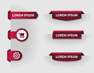 set of red 3d tabs for web design with shopping cart and setting