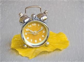 autumn clock -  illustration based on own photo image