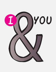 I and you, ampersand hand drawn doodle vector