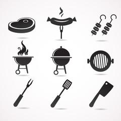 Barbecue vector icon set.