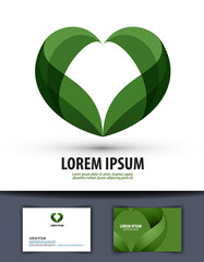 Ecology. The leaves are heart-shaped. Logo, icon, template,