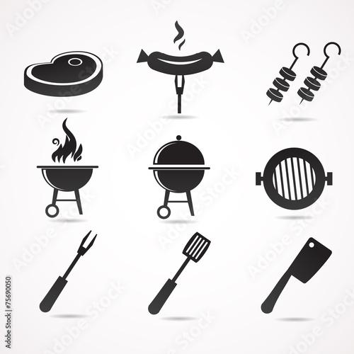 Barbecue vector icon set. - 75690050