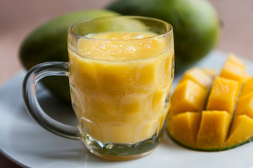 Mango smoothie with cut mango