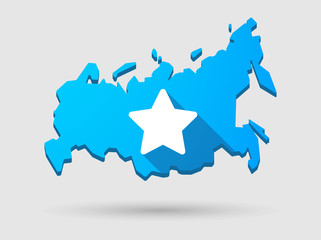 Long shadow Russia map icon with a star