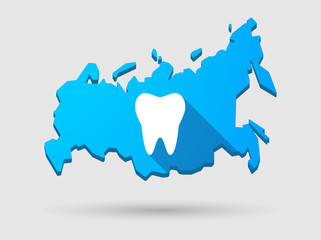 Long shadow Russia map icon with a tooth