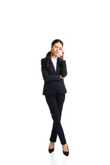 Businesswoman tired because of troubles