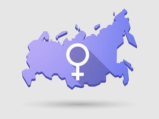 Long shadow Russia map icon with a female sign