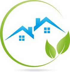 Logo, Immobilien, Haus, Dach, Blätter