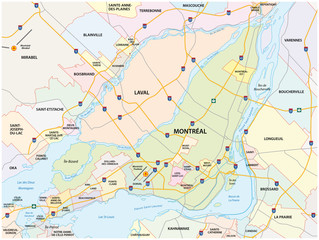 greater montreal road and administrative map