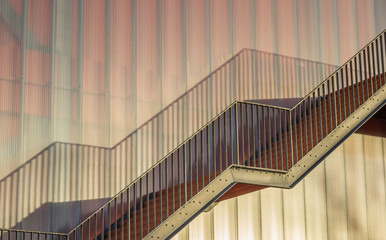 Steel stairs on a modern building of the Groningen university