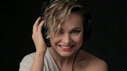Portrait of beautiful girl in headphones.