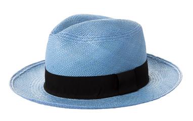 Blue panama hat isolated on white background