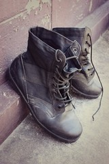 Black leather boots - fashion and dress.