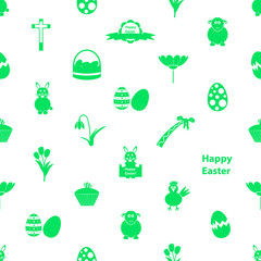 various Easter icons seamless white and green pattern eps10