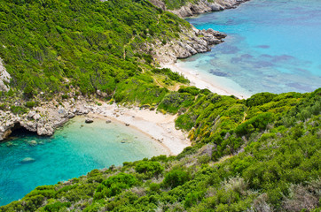 Famous 2 side Porto Timoni beach, Corfu, Greece