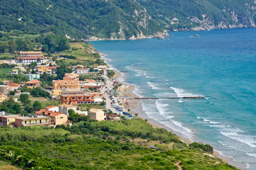 Typical bay with little town Arillas - Corfu, Greece
