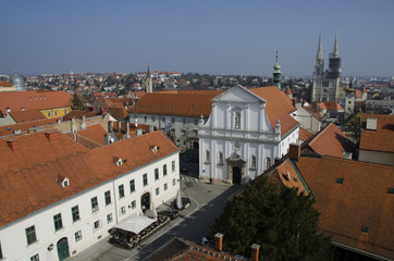 upper town from lotrscak tower, zagreb